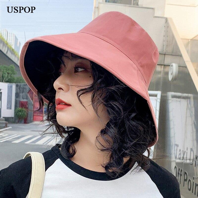 USPOP 2020 New women bucket hats wide brim sun hats female solid color  cotton bucket hat Women's Bucket Hats  - AliExpress