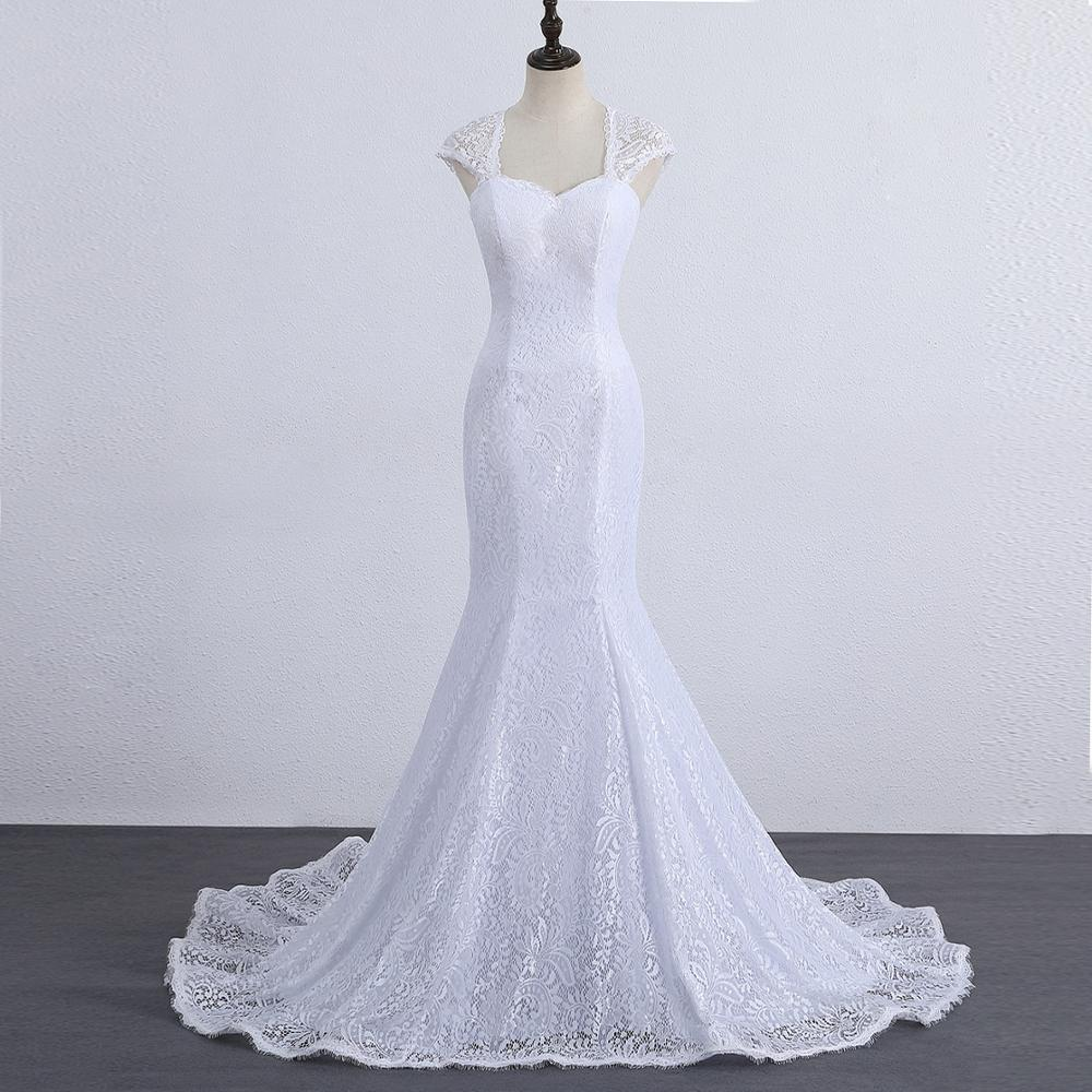 Elegant Long Train Real Photos White Lace Mermaid Wedding Dress Backless Cap Sleeves Bridal Gown Vestido De Noiva SLD-W000202