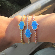 3 colors fine hamsa hand Top quality luxury 2017 blue opal fatimas hand cz tennis fashion 925 sterling silver fine bracelet