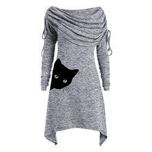 Damska Sukienka na co dzień Boho nadruk kota okrągły dekolt Shift Dressess nieregularne brzegi zimowa jesień Sukienka Oversize Kobieta Sukienka