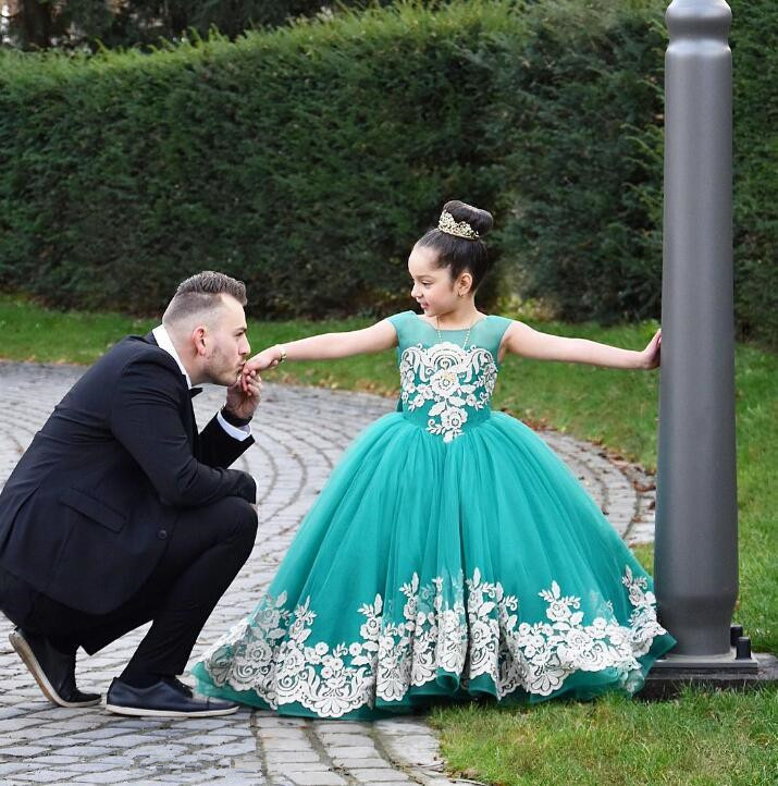 Fashion Lace Tulle Ball Gown Floor Length   Flower     Girls     Dress   Pageant   Dresses   Kids Evening   Dress