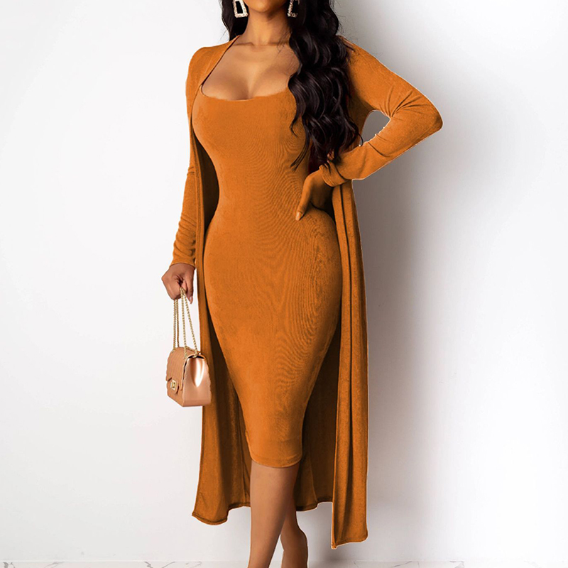 Women Dress Two Piece Sets Spaghetti Strap Midi Dress Full Sleeve Open Stitch Long Coat Outfits Plus Size Black Club Sexy Suits
