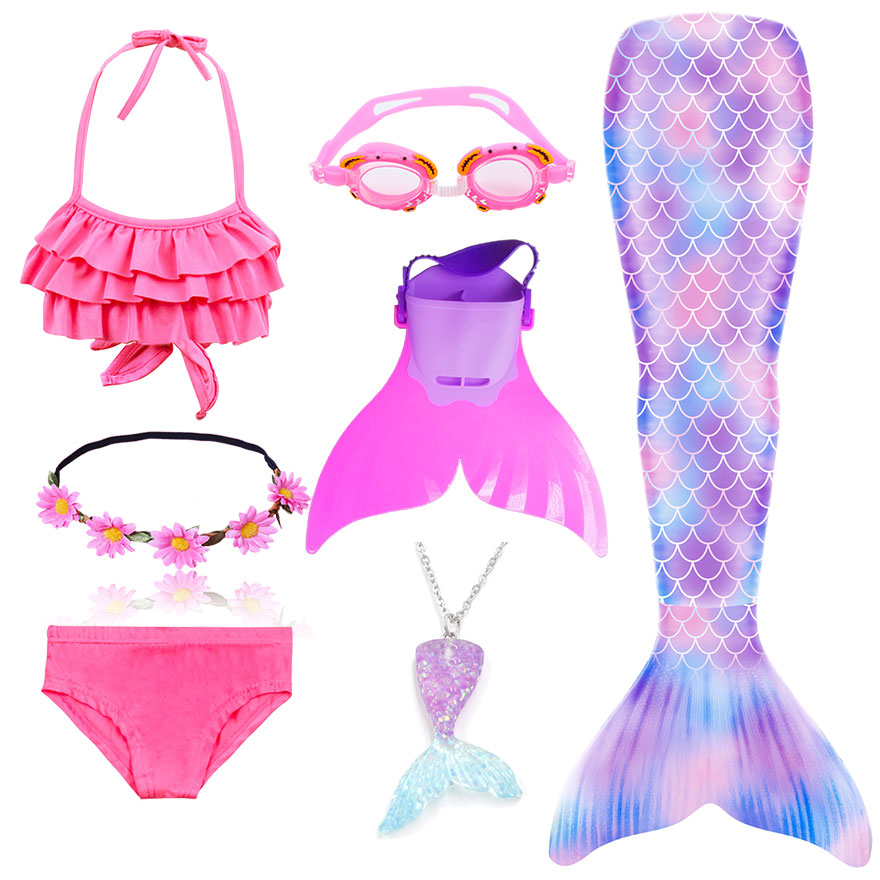 H95a6e032f7064f92bf01fc8d46f4af689 - Kids Swimmable Mermaid Tail for Girls Swimming Bating Suit Mermaid Costume Swimsuit can add Monofin Fin Goggle with Garland