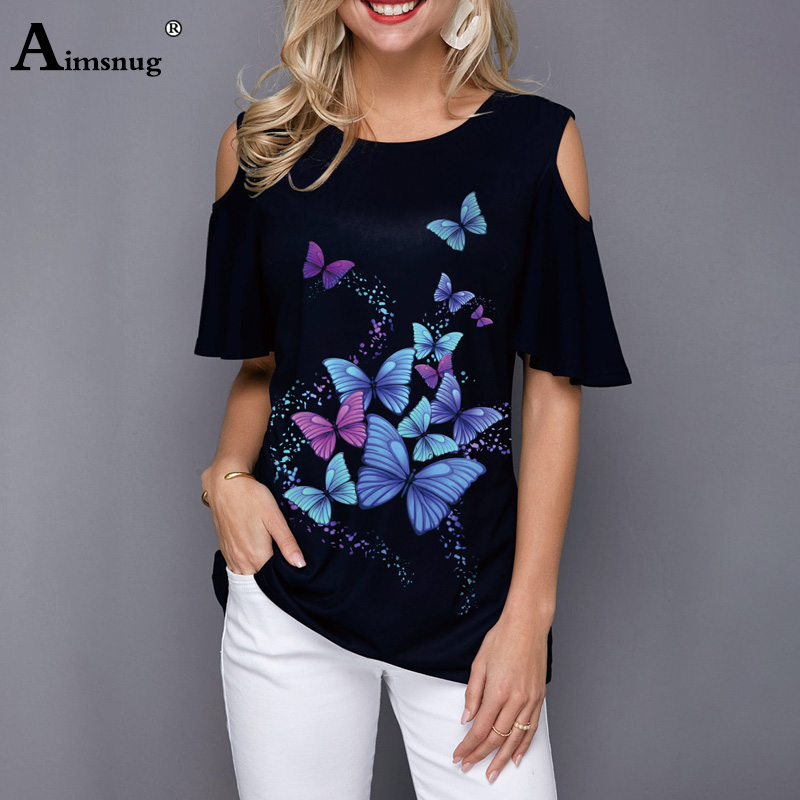 Plus Size 4xl 5xl Women Fashion Print Tops Round Neck Ruffle Sleeve Tee Shirts 2020 New Summer Direct Cut Casual Loose T-shirt