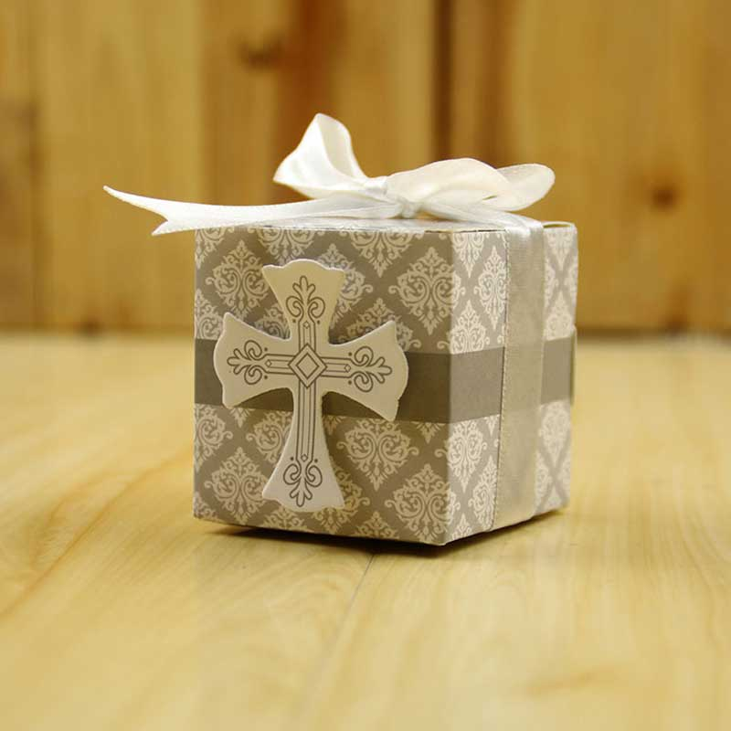 10 Pcs/lot Creative First Communion Cross Candy Box Christening Baby Shower Wedding Party Wrap Bomboniere Holders With Ribbons