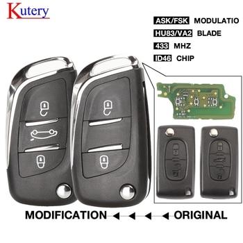 kutery 5pcs ASK/FSK Ce0523 2/3 Button Remote Car key For Citroen C2 C3 C4 C5 433Mhz ID46 Modified Flip Car Key Control