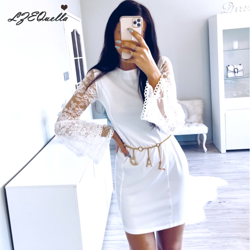 LZEQuella Vintage O Neck Flare Sleeve Lace Dress Patchwork High Waist Spring Summer Street Mini Dresses Sundress NZ1597