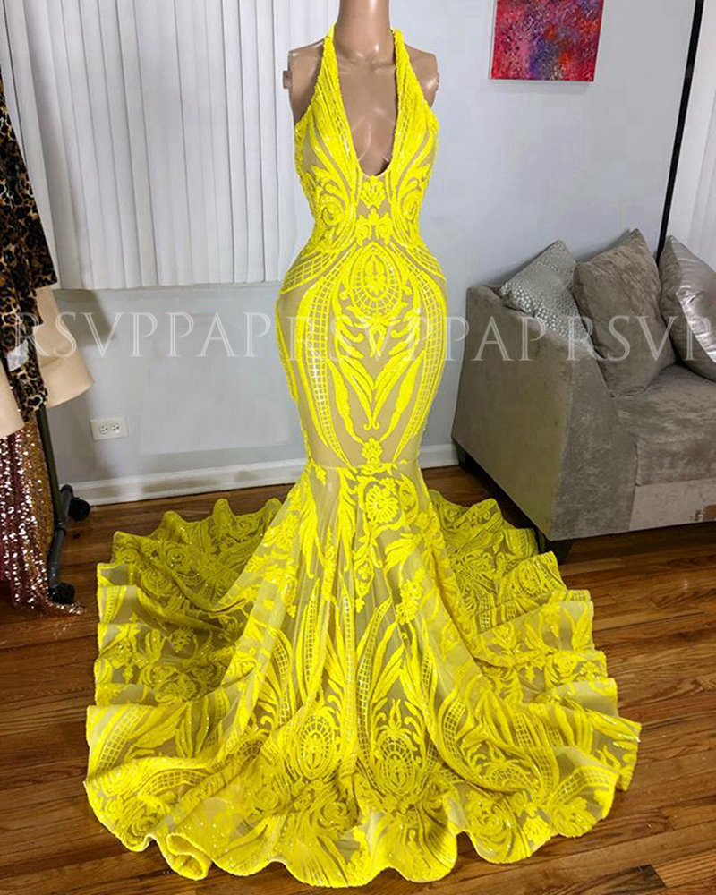 Real Picture Long Prom Dresses 2020 Halter African Black Girl Women Yellow Sequin Graduation Prom Gala Dress