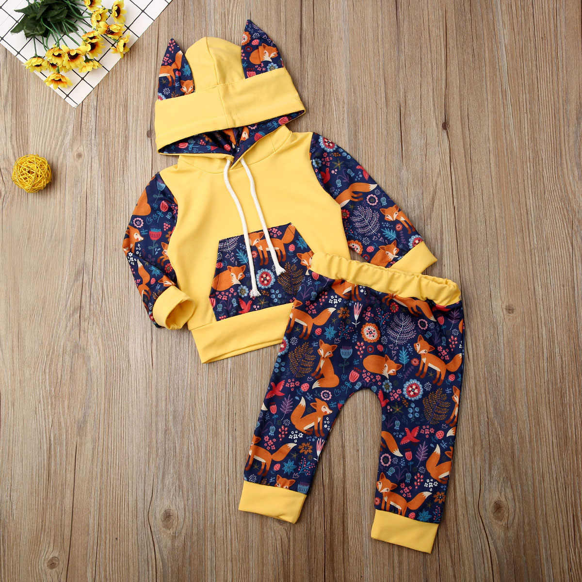 UK Cute Infant Toddler Baby Boy Clothes Fox Hooded Tops Sweatshirt Long Pants Outfits Baby Set Clothes 0-24 months