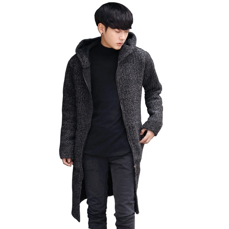 Autumn New Fashion Mens Causal Knit Cardigan Man Sweaters Long Loose Style Hooded Coats Zipper Jacket Outwear Plus Size 4XL