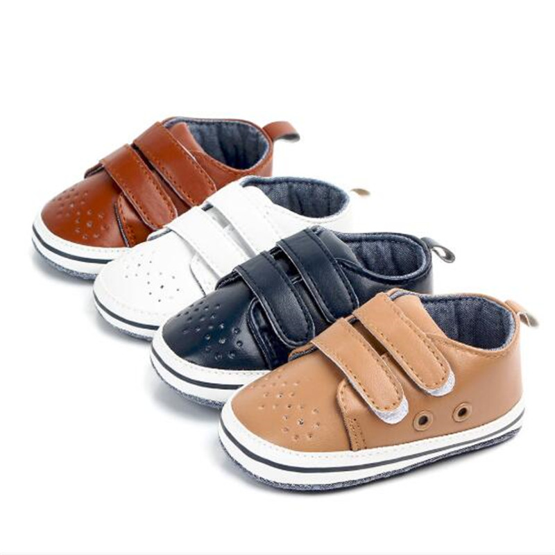 Fashion Baby PU Shoes Infants Anti-slip First Walker Soft Soled Newborn Sport Shoes Breathable Boys Casual Shoes