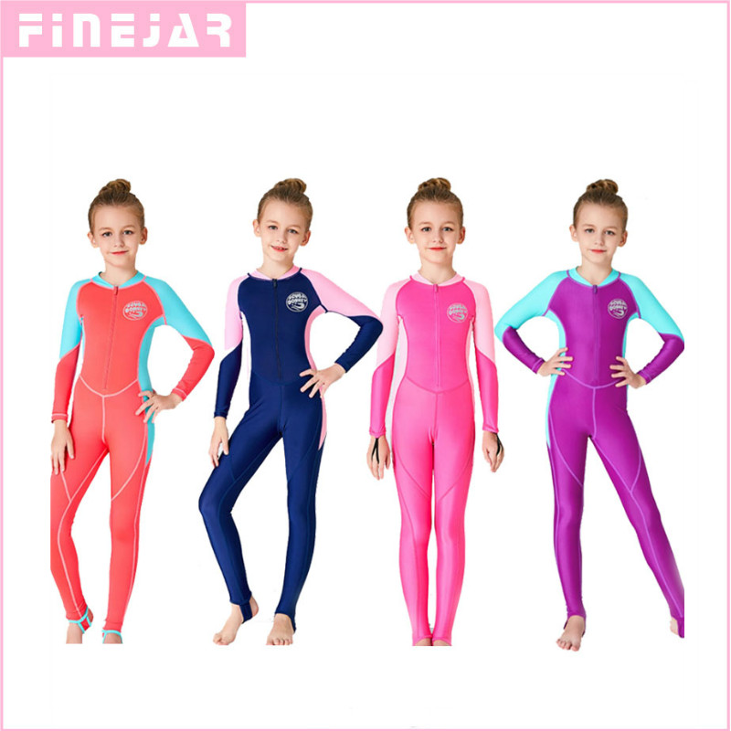 HISEA Kids One Piece Long Sleeve Swimsuit UV Protection Diving Swimming Wetsuit