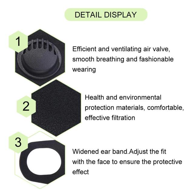 1PC Anti Flu Mouth Mask Dustproof Anti-fog Haze PM 2.5 Activated Carbon Reusable Face Mouth Mask Cover Respirator Unisex Black 2