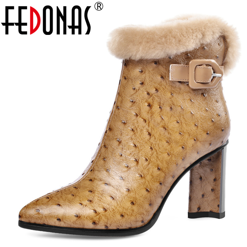 FEDONAS Winter Elegant Women Zipper Genuine Leather Ankle Boots Party Dancing Shoes Woman Warm High Heels Buckle Chelsea Boots