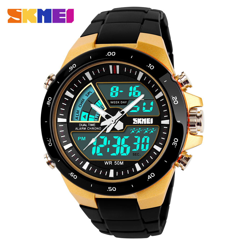 SKMEI 1016 Men Sport Watch Dual Display Wristwatches Relogio Masculino Top Luxury Brand Men's Quartz Watches 5Bar Waterproof