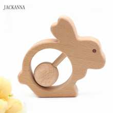 Beech Wood Rabbit Teethers Wooden Baby Rattle Teethers Hand Montessori Toy Eco-friendly Wood Play Gym BPA Free Wood Baby Teether(China)