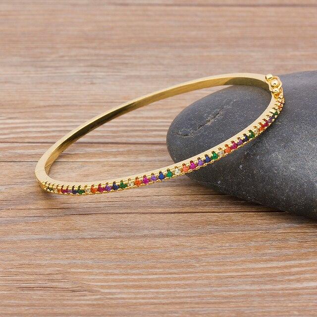 New Design High Quality Charm Rainbow Bangles Copper Zirconia Rhinestone Cuff Bangle Trendy Jewelry Gift For Women Girls 3