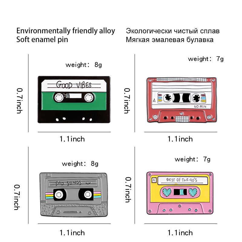 4 Gaya Magnetic Tape Enamel Bros Damai Sad Songs Kerah Pin Lencana Perhiasan Hadiah untuk Teman-teman Yang Suka Mendengarkan untuk Musik