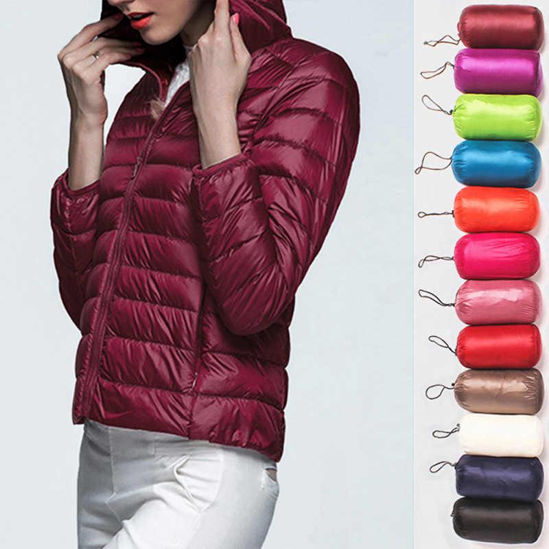 WOMENS ULTRA น้ำหนักเบาลง Hooded แจ็คเก็ตที่อบอุ่นเสื้อแขนยาว Slim Parka หญิง Solid แบบพกพา Outwear Coat ฤดูหนาว