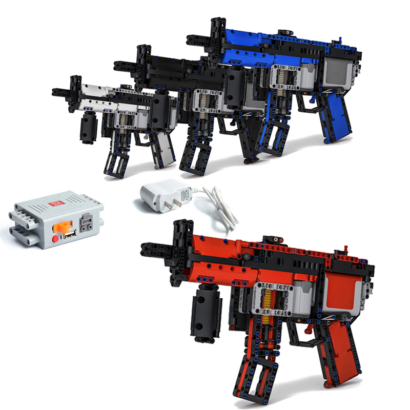 nova atualizacao de energia do motor eletrico brinquedos arma apto logotipos tecnica moc 29369 mp5 submachinegun