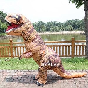 Image 5 - 성인 어린이를위한 풍선 공룡 T REX 할로윈 의상 여성 남성 Blowup 트리케라톱스 전신 카니발 코스프레 마스코트 파티