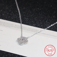 925 sterling silver female necklace pendant fashion inlaid ochre four leaf clover jewelry hot sale birthday gift 2019 new hot