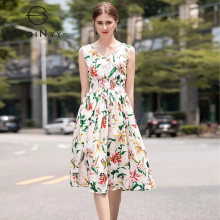 SEQINYY Vest Dress 2020 Summer New Fashion Design Elastic Waist Romantic Lily Flowers A-line Women Knee