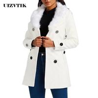 Long Sleeve Autumn Winter Coat Women 2019 Casual Plus Size Slim Faux Fur Wool Jackets Female Elegant Ladies Double Breasted Coat