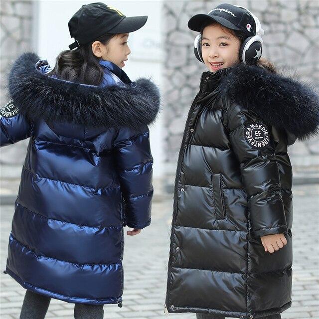 -30 Degrees Russian Winter Snowsuit 2019 Boys Girls Duck Down Jacket Waterproof Hooded Coat Teenager Kids Fur Collar Parka 4