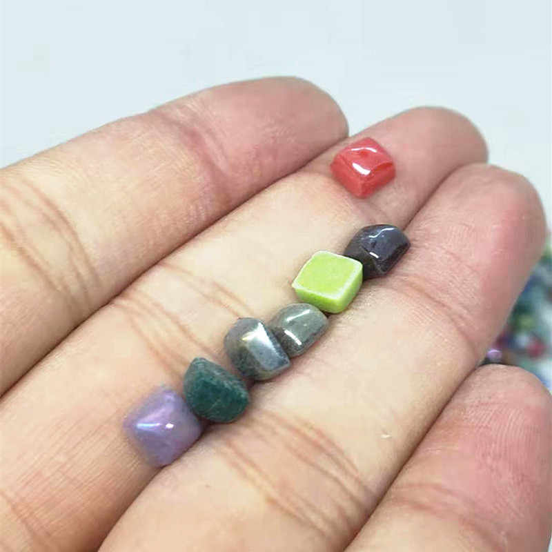 Mosaico de Jade brillante de 200 Uds. (65g), mosaico de 0,58 cm, piedras de mosaico cuadrado, materiales artesanales para bricolaje para niños/niños, varios colores opcionales