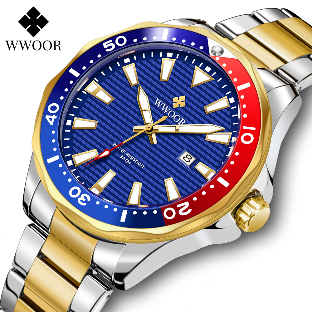 WWOOR – montre de sport pour homme, accessoire de luxe, style militaire, couleur or, Quartz, étanche 30atm, Date lumineuse, nouvelle collection 2021