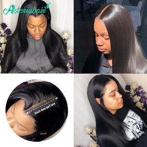 Asteria, peluca Frontal de encaje 13x6, Peluca de pelo humano Frontal de encaje liso brasileño predesplumado para mujeres negras, peluca Remy de densidad 180% 250%