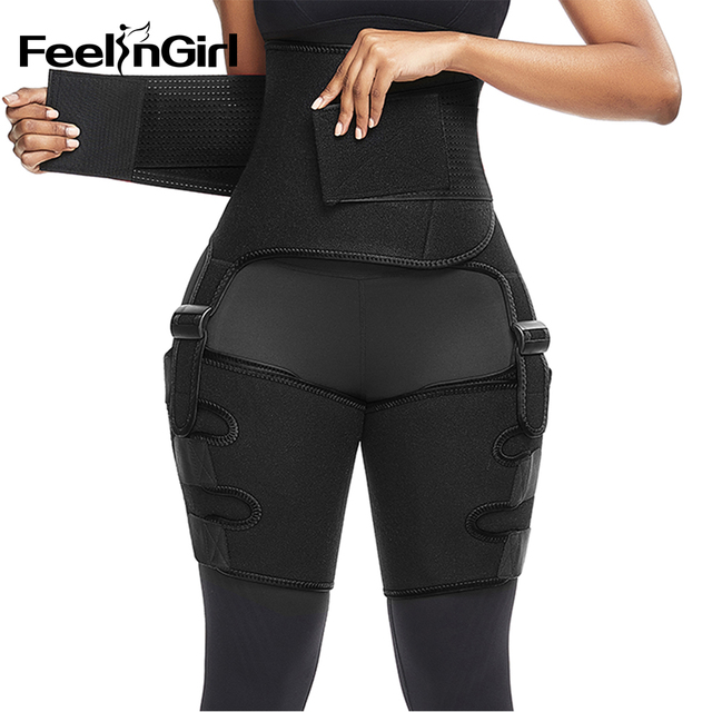FeelinGirl Neoprene Thigh Trimmer Leg Shapers Slimming Belt Sweat Waist Trainer Weight Loss Workout Corset Thigh Slimmer Strap 2