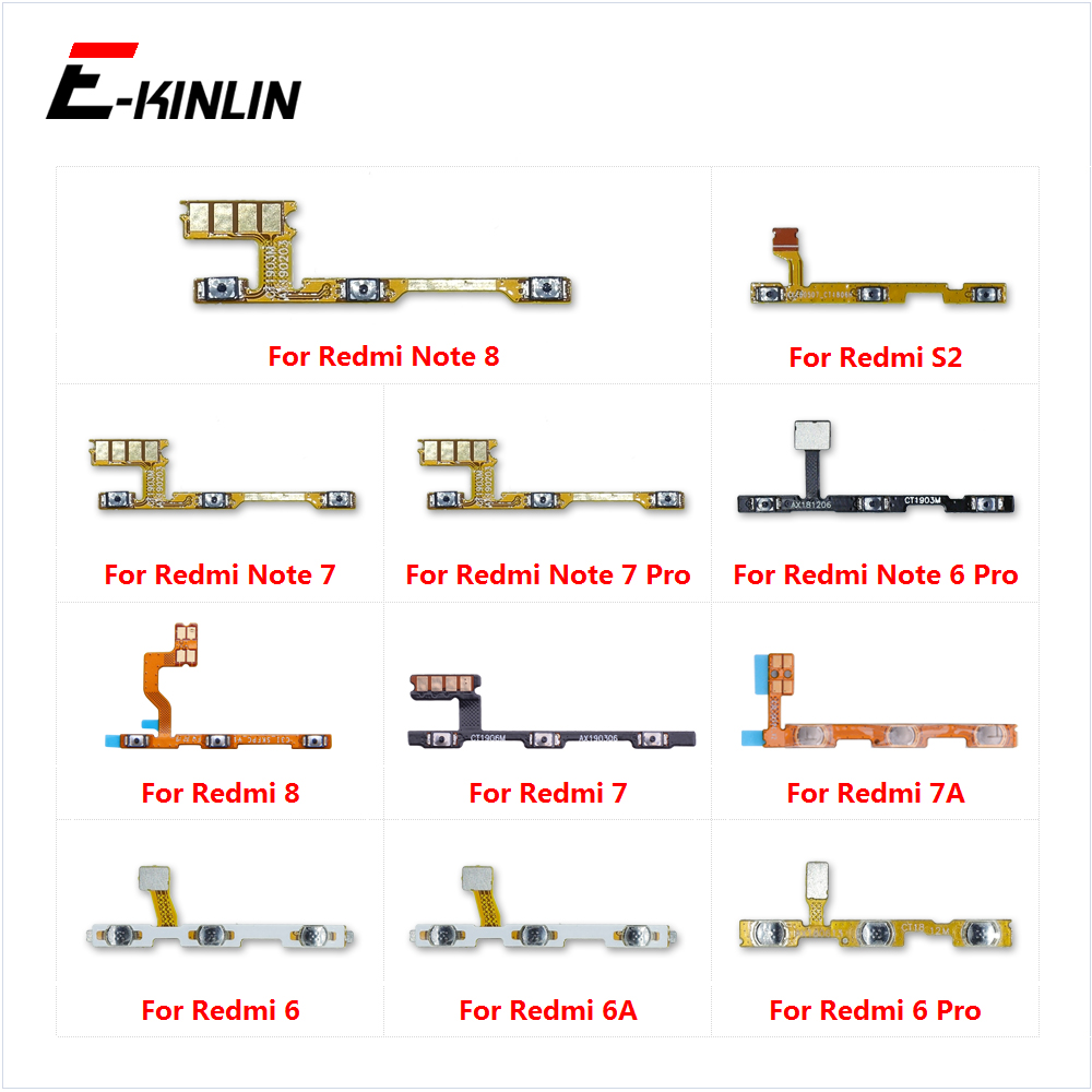 Switch Power ON OFF Button Flex Cable Ribbon For XiaoMi Redmi Note 8 7 6 Pro 7A 6A S2 Mute Silence Volume Key Repair Part