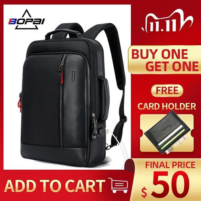 BOPAI Men Black Leather Backpack USB Charge Bagpack School Bags Hidden Pocket Anti Theft Backpack Men Laptop Backpack sac a dos