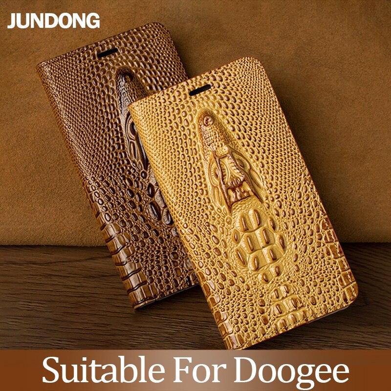 Pour Doogee X3 X9 X20 X10 X30 X50 X5 Max Mix 2 BL5000 BL7000 BL12000 Pro étui en cuir de vachette luxe tête de Dragon couvercle rabattable