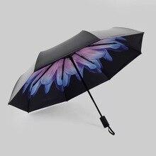 Креативный зонт складной трехскладной черный пластиковый зонтик Анти-УФ зонт от солнца