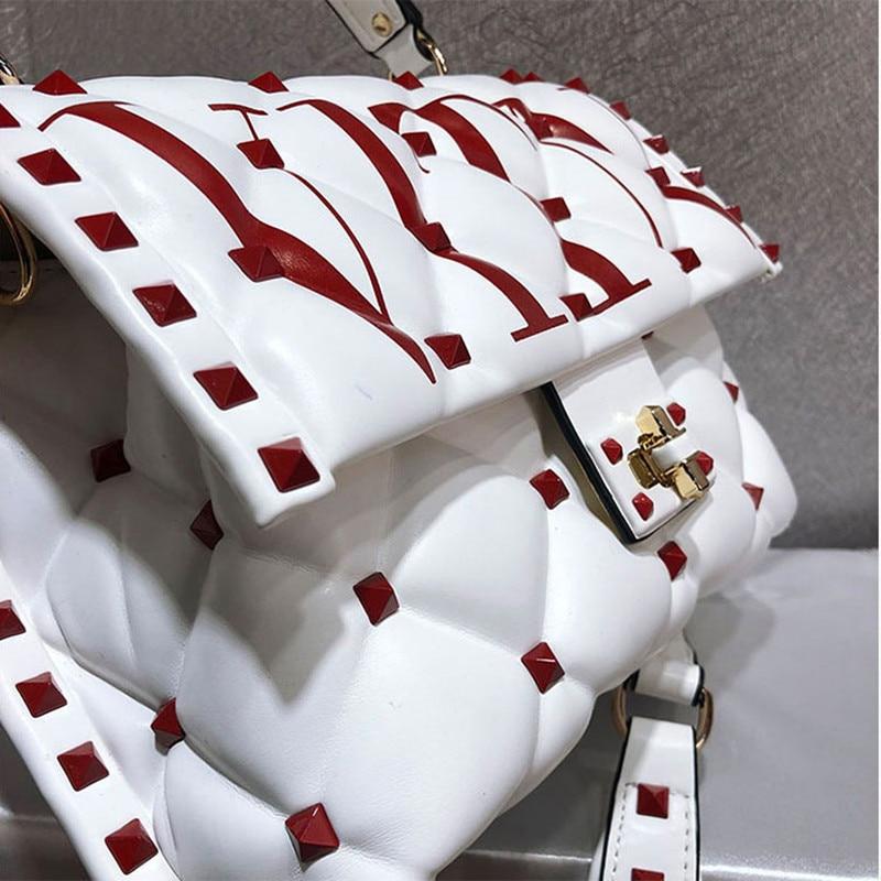 Berühmte Designer Hohe Qualität Echtes Leder Frauen Handtaschen Luxus Mode Niet Brief Design Schulter Messenger Tasche Sac EIN Haupt - 3