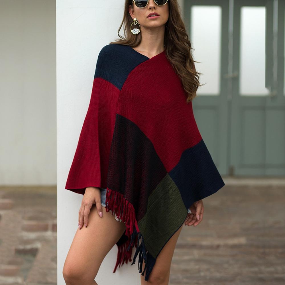 2020 Autumn and Winter New Fashion Women V-Neck Irregular Patchwork Cloak Loose Shawl Cardigan Sweater Coat Coat Hot Sales