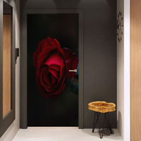 3D Print Beautiful Red Rose Waterproof Entire Door Sticker Creative Stickers Door Wall Sticker DIY Mural Bedroom Home Decor