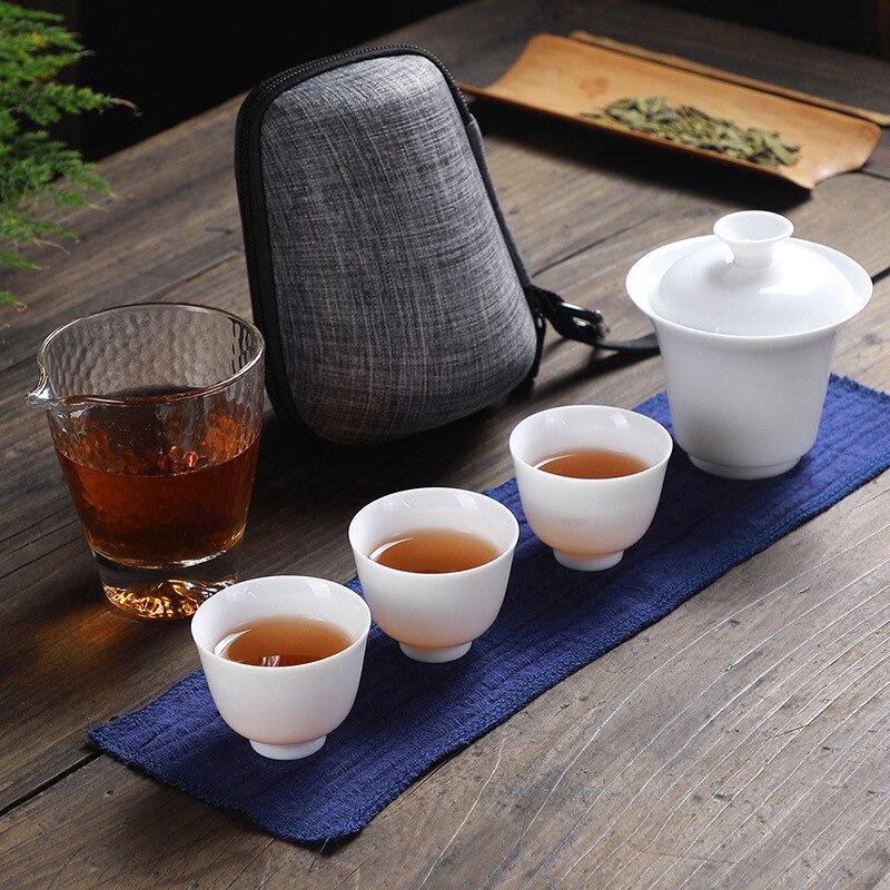 Chinese Kung Fu Tea Set Ceramic Portable Teapot Set One Pot Four Cup Outdoor Travel Gaiwan Tea Cups of Tea Ceremony Teacup
