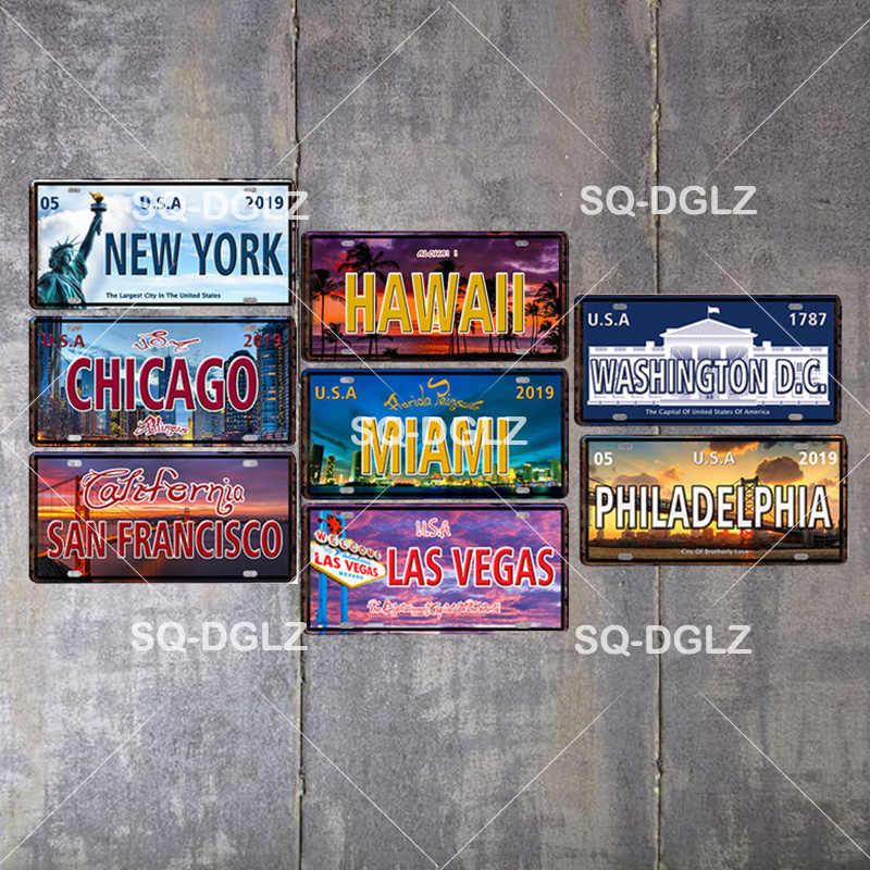 [SQ-DGLZ] الولايات المتحدة شعبية مدينة لوحة ترخيص جدار ديكور أمريكا الشمالية تين تسجيل خمر المعادن تسجيل اللوحة اللوحات المشارك