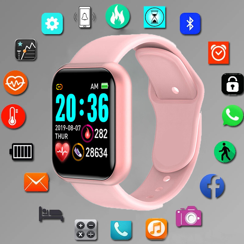Montre numérique intelligente de sport, montre bracelet électronique led, Bluetooth, fitness, hommes, enfants  