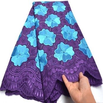 African Voile Cotton Lace Fabric Purple Blue Swiss Voile Lace In Switzerland High Quality Swiss Dry Laces For Wedding Ki125
