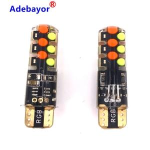 500 sets Remote Control RGB 12 LED Reading Light T10 W5W COB Auto Accessories Strobe Lights Car Interior Atmosphere Lamp