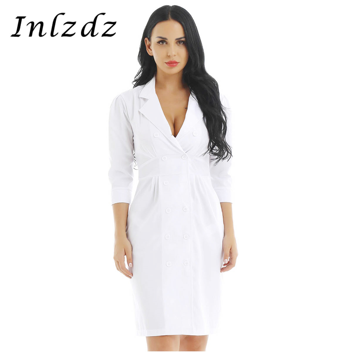 Women's Medical Uniform Dress Doctor's Clothes Lapel Collar Scrubs White Medical Suit Medical Clothing Lab Nurse Doctor Dress