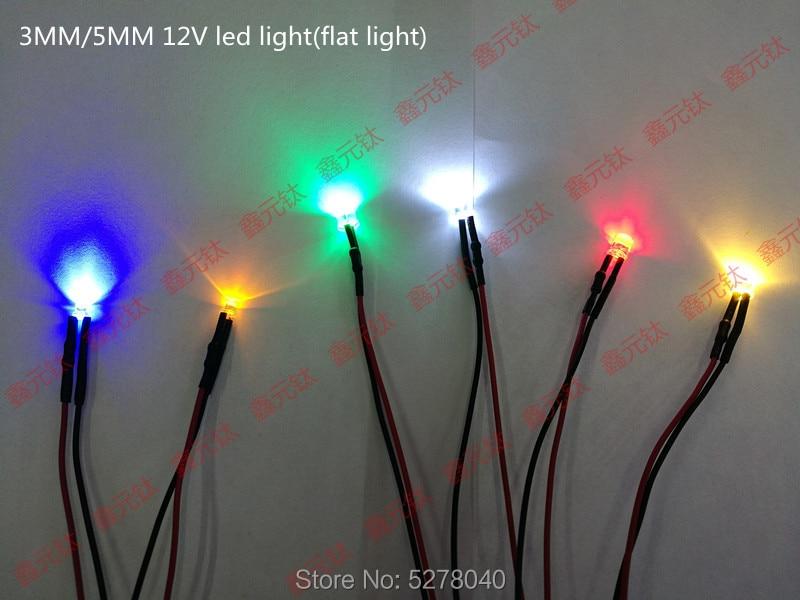 3MM/5MM 12V Flat Light Highlighting Lights Red Yellow Blue Green White Warm White Pink Purple LED Lighting Lamp Bead 50pcs/lot