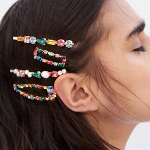 FASHIONSNOOPS nowe modne ZA kryształowe szpilki do włosów dla kobiet marka projekt biżuteria do włosów luksusowe Rhinestone spinki do włosów Bobby Pin prezenty