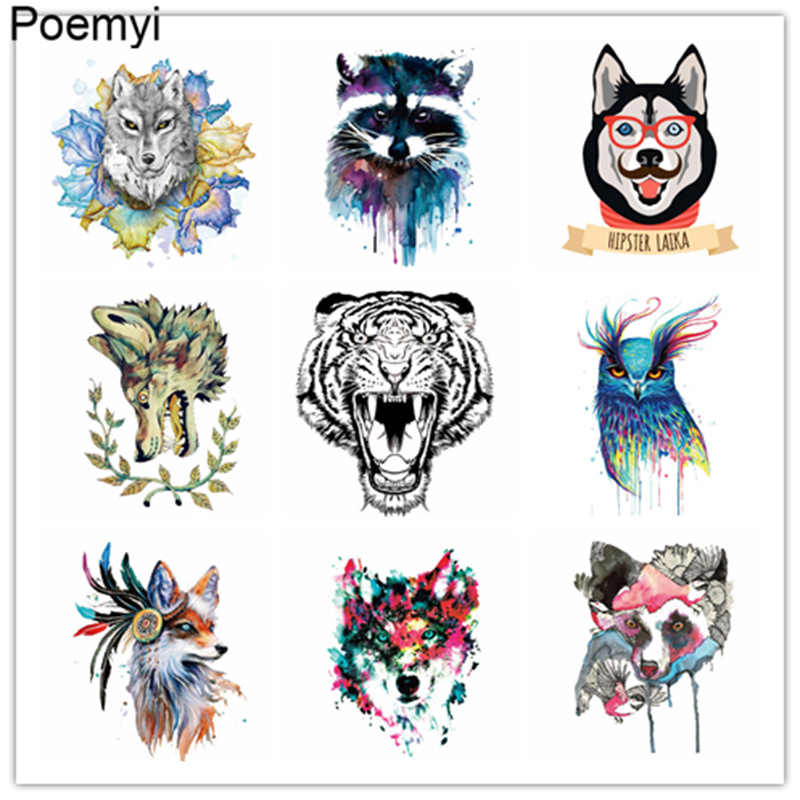 Hot Wolf Cat Tiger Horse Patches Iron On Clothes Stickers Thermal Transfer DIY