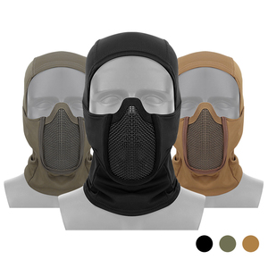Image 1 - Tactical Full Face Steel Mesh Mask Balaclava Hunting Airsoft Paintball Mask CS Game Hunting Cycling Protective Helmet Liner Cap